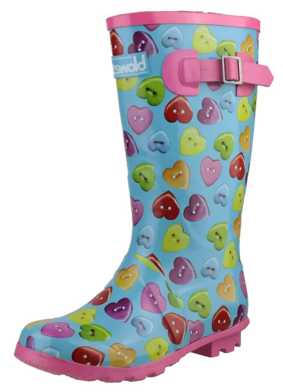 Cotswold Childrens Button Heart Wellies Girls Boots