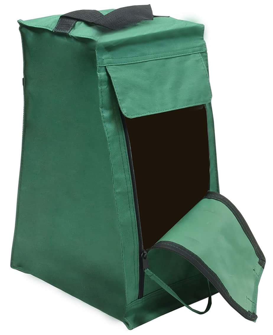 4YourHome PVC Backed Polyester Wellington Boot Storage Bag and Brush, Green