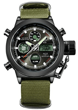 Affute Military Men's Watch Sports Wristwatch with Chronograph Alarm Date Dual-Time Canvas Band