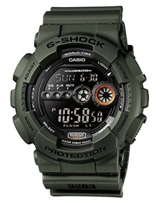 CASIO Men's Quartz Watch with Black Dial Digital Display and Green Resin Strap GD-100MS-3ER