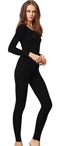 Liang Rou Women's Scoop Neck Stretch Top & Bottom Thin Thermal Underwear Set