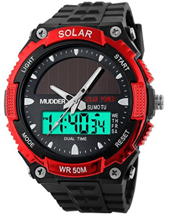 Mudder Men Sports Solar Power 50M Waterproof Outdoor LCD Movement Military Watch, Red