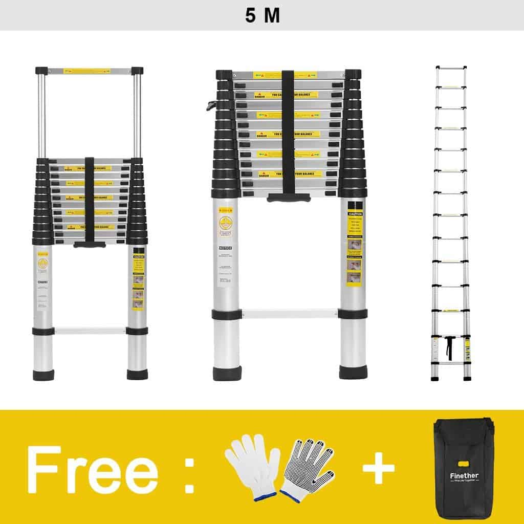 Finether 5M Aluminium Telescopic Loft Extension Ladder